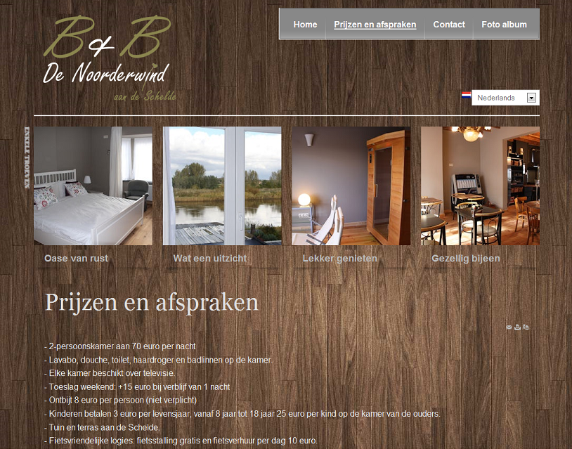 Website B&B De Noorderwind