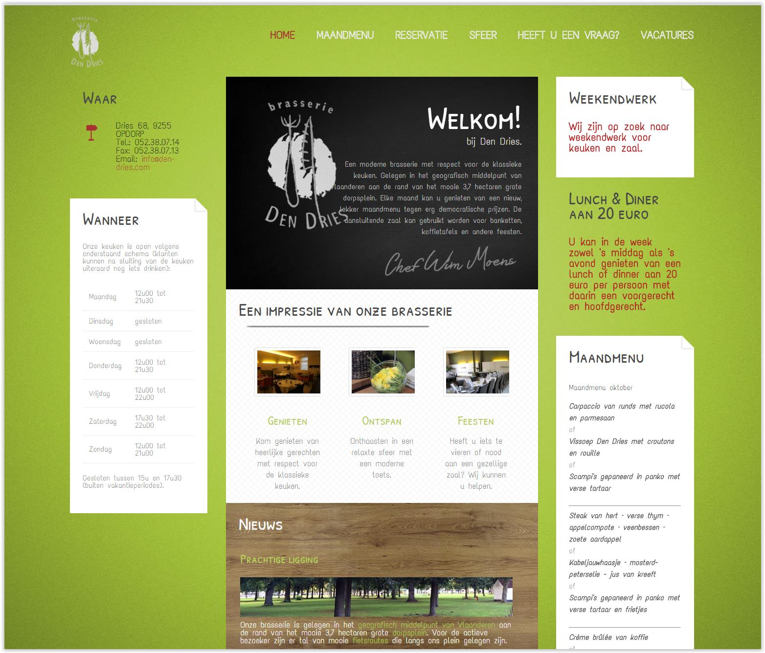 Website Brasserie Den Dries