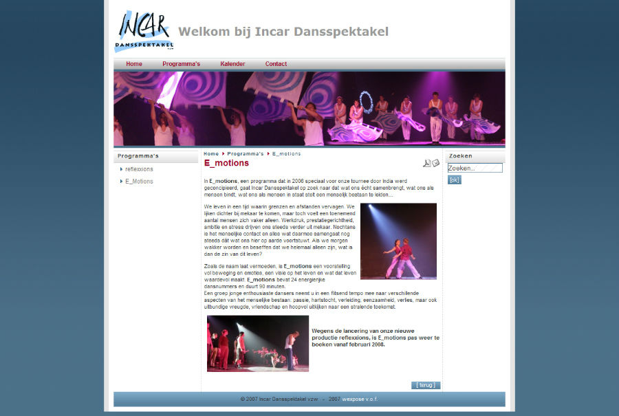 Website Incar Dansspektakel